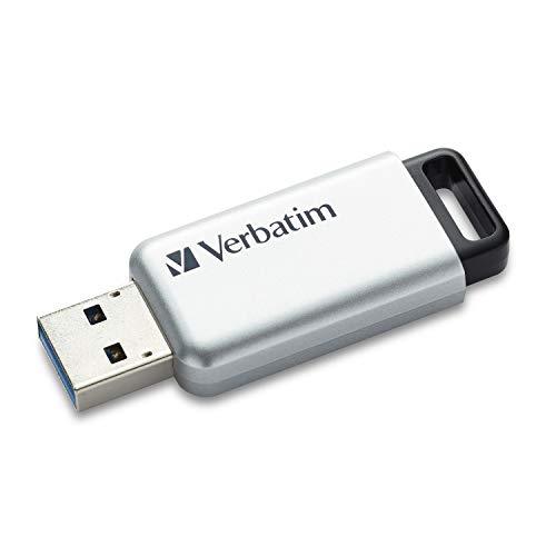 VERBATIM Store 'n' Go Secure Pro USB-Stick I USB-3.2 Gen 1 I 16GB I Speicherstick mit Kennwortschutz I USB-3-Stick mit Verschlüsselung I externer Speicher für Laptop Notebook & Co I silber
