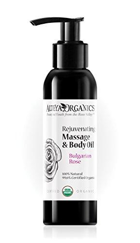 Alteya Organic Mélange de massage et d'huile corporelle avec Rose Bulgarе 125 ml - Certifiée organique USDA, Pure bio naturelle - Traitement rejeunissant et nourrissant la peau