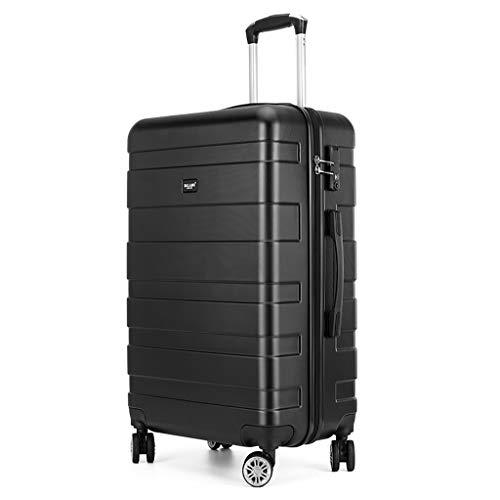 Zakelijke Cabin koffer, Lichtgewicht ABS+Polycarbonaat Hardshell Bagage, Carry-on 4 Spinner Wheels Travel Trolley, met Tsa Lock, Reistas, 34x21x53CM(Zwart)