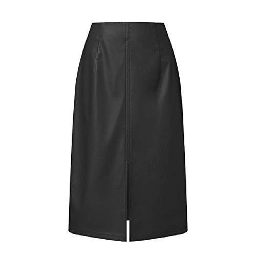 NOBRAND Damen Lederröcke, modisch, Frühlingsröcke, leger, hohe Taille, knielang, mit Reißverschluss Gr. 48, Schwarz