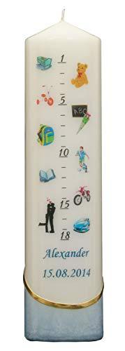 Auswahl - Lebenslicht/Geburtskerze/Geburtstagskerze - blau - ca. 60 x 240 mm - farbig getaucht - personalisiert mit indiv. Name und Datum - (Motiv 001)