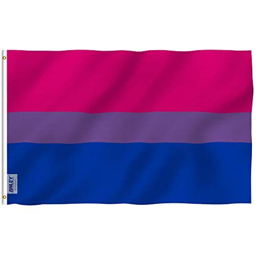 Anley Fly Breeze 3x5 Fuß Bi Pride Flagge - Lebendige Farbe und UV-beständig - Canvas Header und doppelt genäht - Bisexuelle Flaggen Polyester mit Messingösen 3 X 5 Ft