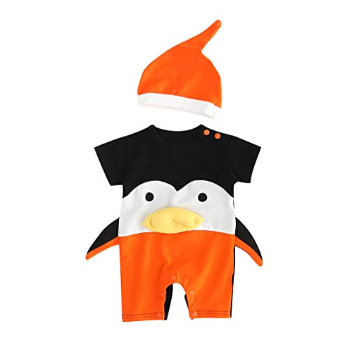 Julhold Baby Meisje Jongen Kid Leuke Mode Cartoon Gedrukt Korte Mouwen Katoen Romper +Hoed Kostuum Jumpsuit Set 0-24 Maanden
