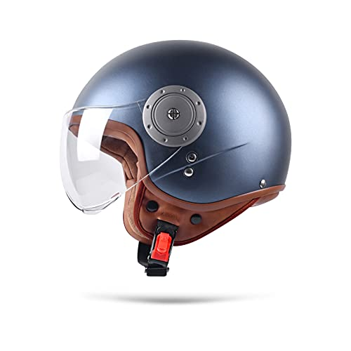 BOSEMAN Metà Aperto Faccia Casco del Motociclo Con Occhialoni ,Casco Modulare Scooter,L'anti-collisione protegge la sicurezza stradale degli utenti(Blu)