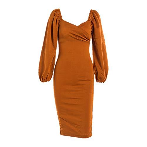 NP Frühling und Herbst Kleid Mid Long Waist Bubble Sleeve Sexy Langarm Kleid Herbst Gr. L, khaki
