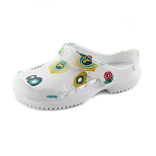 Schu'ZZ – Protector estampado – Zuecos médicos para mujer – Zapatos de hospital – Ligeras, cómodas, transpirables, antideslizantes, suela extraíble, (Pluma de pavo real), 38 EU