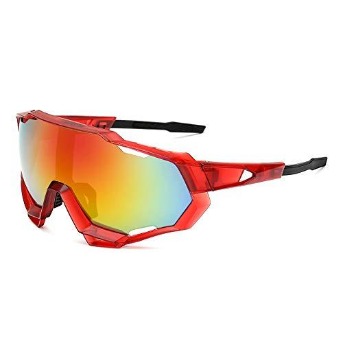 Gafas de sol para hombres y mujeres gafas para montar en bicicleta gafas deportivas al aire libre gafas de sol reflectantes rojas como se muestra