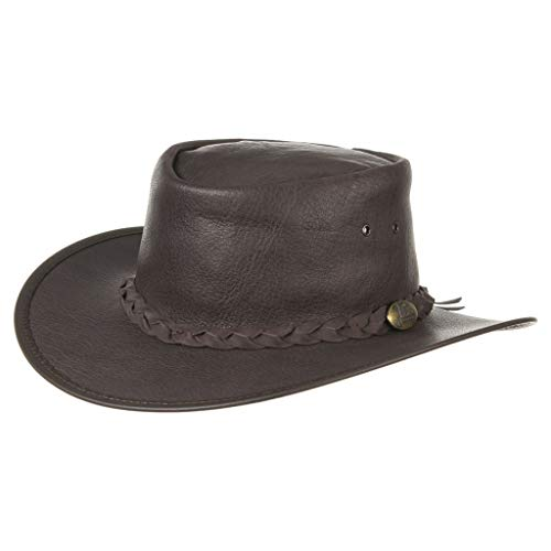 Jacaru Stockman Hut Büffelleder Hut Full Grain Buffalo Hide Hat (XXL (63cm))
