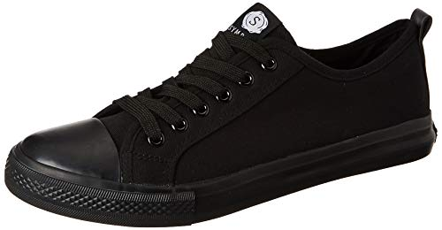 Amazon Brand - Symbol Men's Black Canvas Sneakers-9 UK (AZ-SH-03E)