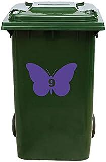 Kliko Sticker/Vuilnisbak Sticker - Vlinder - Nummer 9-14x21 - Paars