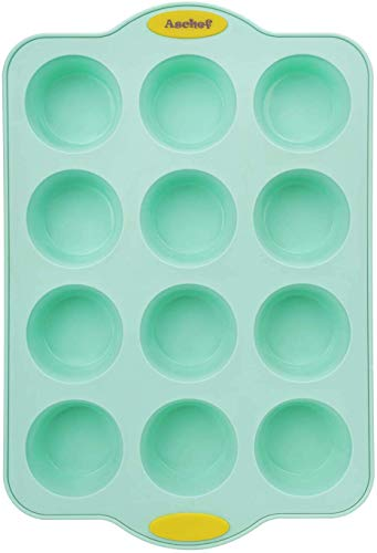 Silicone Muffin Cupcake Baking Pan Bakeware Tray Tin Mold W/ 12 Cups/Reinforced Metal Core Handle Grip, Nonstick BPA Free Quick Release Coating Dishwasher & Microwave Safe