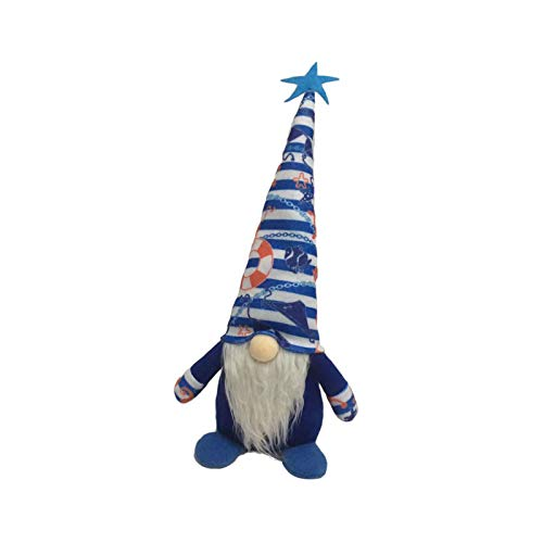2PCS Ocean Festival Gnome Plush Faceless Doll , Mother's Day Decorations Deep Blue Luckily Nautical Gnome Handmake Stuffed Plush Doll Day Table Ornament for The Home Office Standing Post Toy Gifts