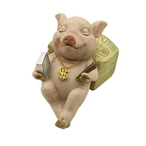ZXZCHGN Statue de Cochon simulé créatif, Animal Mignon Ornement de résine Artisanat, Figurine Ornement de fée décor de Jardin, pour la Maison de Salon décoration de Chambre à Coucher (Couleur : B)