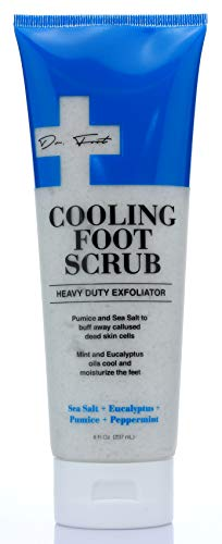 Dr. Foot Cooling Foot scrub for dead skin. Heavy Duty Foot Exfoliating Scrub for Calluses, Dead Skin, Rough Heels with Sea Salt, Eucalyptus, Pumice and Peppermint. Large 8 FL oz.
