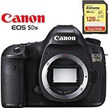 Canon EOS 5DS DSLR Camera (Body Only) International Version Starter Kit + 64GB Memory Card + Battery + Canon Neck Strap Bundle