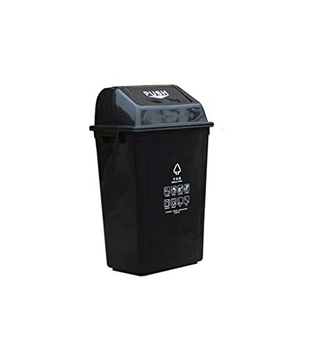 Zhou-WD Playground Refuse Bin, Theater Recycling Bins Garbage Container Trash Barrel for Residential Commercial Use Home/Outdoor Recycling Bins ( Color : Black , Size : 754431CM )