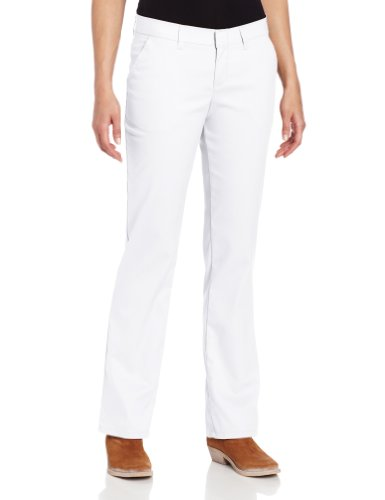 Dickies Women's Wrinkle Resistant Flat Front Twill Pant With Stain Release Finish,White,10 Regular