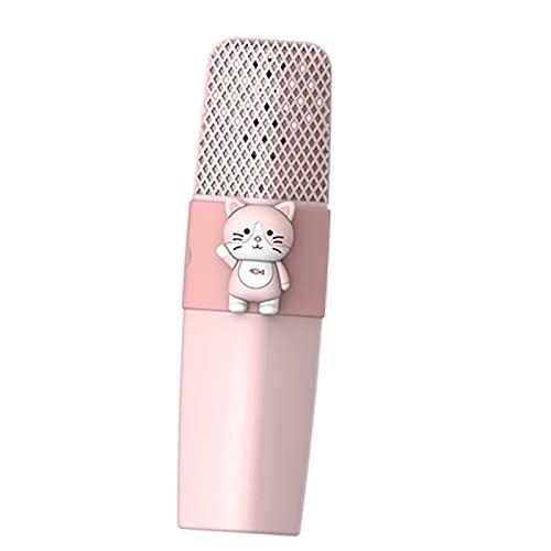 balikha Karaoke Micrófono inalámbrico Sonido HD Batería de Larga duración Reproductor KTV portátil de Mano para niños Fiesta en casa Cumpleaños Compatible con - Gato Rosa