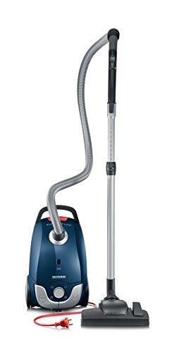 Severin BC 7058, Aspiradora de suelo con bolsa, incluye cabezales para tapicería, parquet y cepillo turbo, S´SPECIAL carPET & carpets, azul y rojo