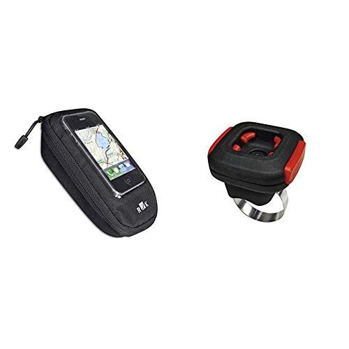 KlickFix Farradtasche Phone Bag Plus Schwarz Handytasche, One Size und Zubehör Quad Adapter Schwarz, One Size