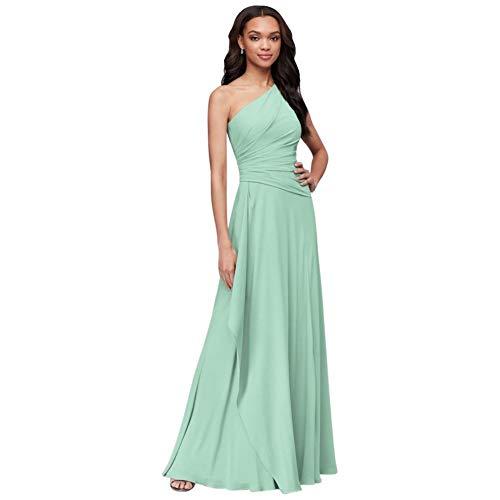 One-Shoulder Georgette Cascade Bridesmaid Dress Style F19832, Mint, 6