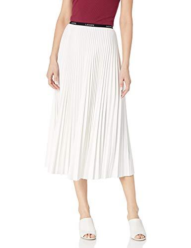Lacoste Women's Pleated Midi Skirt, Cake Flour White, L