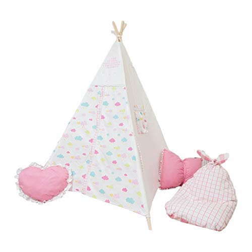 SZQ-Play Tents White Play Tent with Colorful Cloud Pattern, Indian 4 Corner Tent Children's Teepee for Indoor & outdoor Games Kids Teepee (Size : 120 * 120 * 150CM)