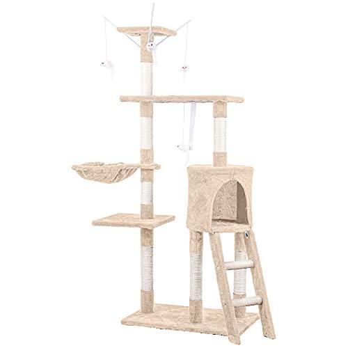 HOMIDEC Katzen Kratzbaum, 138 cm Katzenbaum Kletterturm, Kletterbaum Aktivitätskratzbäum mit Katzenspielzeug, Katzenhöhle, Liegemulde, Plattformen, Leiter & Sisal-Stämme für Katzen Kätzchen, Beige