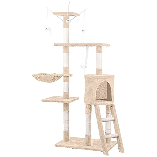 HOMIDEC Tiragraffi per gatti, 138 cm, torre da arrampicata, albero tiragraffi per gatti con giocattoli per gatti, cuccia per lettino, piattaforme, scala e tronchi in sisal per gatti e gattini, beige