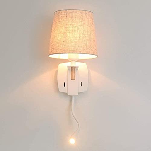 YUSHIJIA Apliques Lámparas de Mesa con Interruptor Independiente Luz de Pared Simple Modern Wall Light Shade/Lámpara de Noche Cuerpo de Hierro Forjado para Dormitorio lámpara de Pared