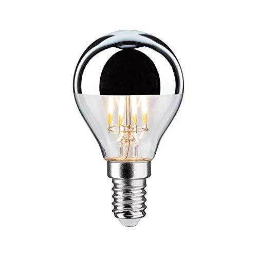 Paulmann 28667 LED Lampe Filament Tropfen 4,8 Watt Leuchtmittel Kopfspiegel Silber 2700 K Warmweiß dimmbar E14