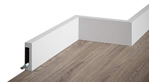MARDOM DECOR Sockelleiste I MD008 I moderne Fußbodenleiste Bodenabschlussleiste I 200 cm x 8,0 cm x 1,7 cm
