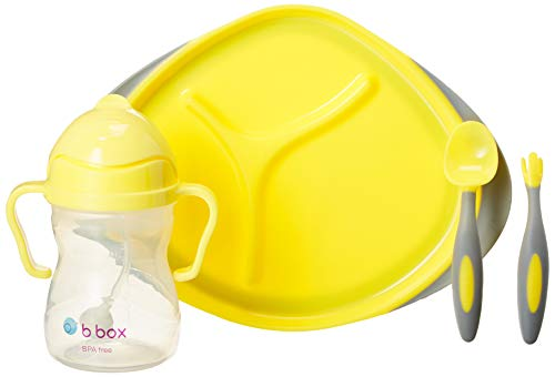 b.box Toddler Feeding Set | Color: Lemon Sherbet | Includes: Sippy Cup, Cutlery Set and Divided Plate | 6 Months + | BPA-Free | Phthalates & PVC Free | Dishwasher & Microwave Safe