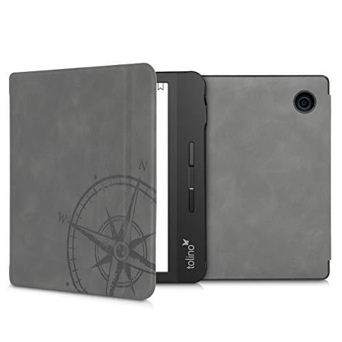kwmobile Hülle kompatibel mit Tolino Vision 5 - Kunstleder eReader Schutzhülle Cover Case - Kompass Vintage Grau