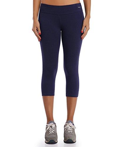 Wingslove Damen Capris Yoga Sporthose Laufenhose 3/4 Leggings Training Sport Strumpfhosen (Marine Blau,M)