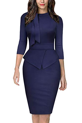 Moyabo Women Skirt Suits for Work Plus Size Tie Collar 3/4 Sleeveless O Neck Pencil Tunic Dress Navy Blue XX-Large