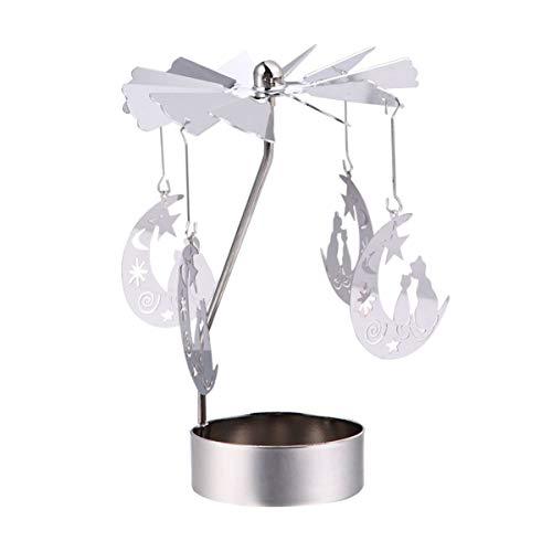 Minkissy Spinning Portacandela a forma di gatto su luna, in metallo, per decorazione da scrivania, per Natale, festa di compleanno a casa