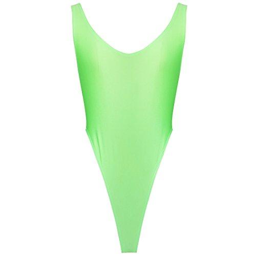 iEFiEL Damen Hydrasuit Wetlook Badeanzug Bademode Schwimmanzug Tanz Sportbody Body Bodysuit (Grün)