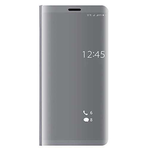 WEQQ Clear Mirror Smart Case Flip Stand Case Funda Protectora para teléfono para Huawei (Plateado para Huawei 9lite)