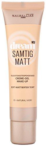 Maybelline New York Dream Samtig Matt Creme-Gel Make-Up Natural Ivory 01 / Schminke in einem hellen Hautfarben-Ton, für eine langanhaltende Abdeckung und einen frischen Look, 1 x 30 ml