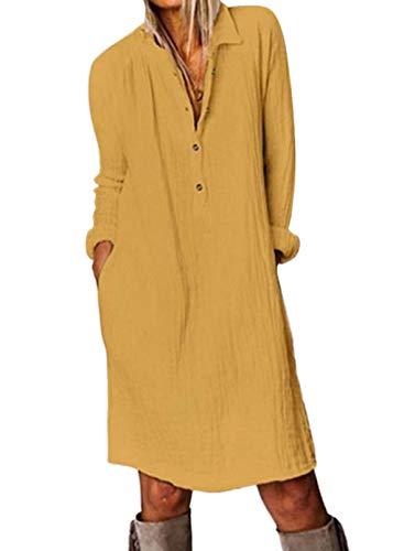 FOBEXISS Vestido casual de manga larga con cuello vuelto y manga larga, color sólido, para mujer, ajuste holgado, con botones
