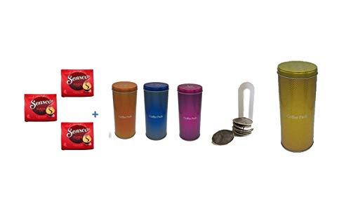 Senseo Kaffeepads Klassisch / Classic, Intensiver & Vollmundiger Geschmack, Kaffee, 3er Pack, 3 x 16 Pads + 4 Paddosen orange blau pink gold +Padheber