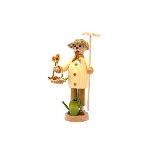 Drechslerei Friedbert Uhlig, Räuchermännchen Nr. 041, Gärtner, 25 cm hoch, aus regionalem Holz gedrechselt, echte Handarbeit aus dem Erzgebirge, Weihnachten, Holzkunst, Echtholz