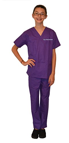 My Little Doc Custom Kids Scrubs Purple, Includes Embroidered Name (5/6)