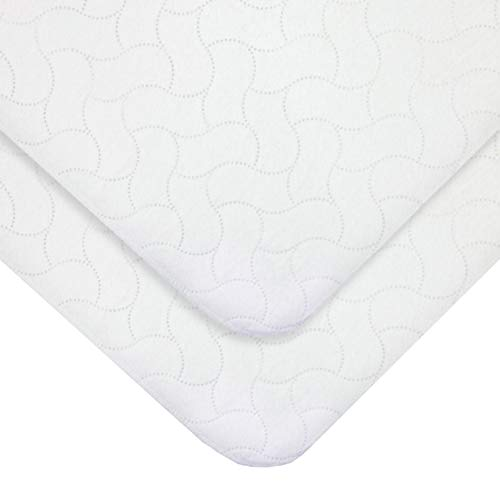 """American Baby Company2 PackWaterproof Embossed Quilt-Like Flat Crib Protective Pad Cover for Boys and Girls, White, 28"""" X 52"""""""