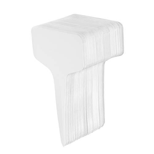 Angoily 100 etiquetas de plástico para plantas, color blanco, resistentes al agua, tipo T, etiquetas para etiquetas, para macetas, flores, verduras (10 x 6 cm)