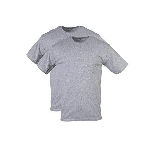 Gildan Men's DryBlend Workwear T-Shirts with Pocket, 2-Pack, Sport Grey, Large