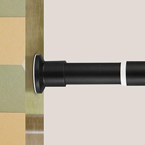 Oxdigi Room Divider Tension Curtain Rod Long / 141.7 - 161.4 inches Large No Drilling Adjustable Window Curtain Rod for Bathroom, Shower Indoor Decor / Black