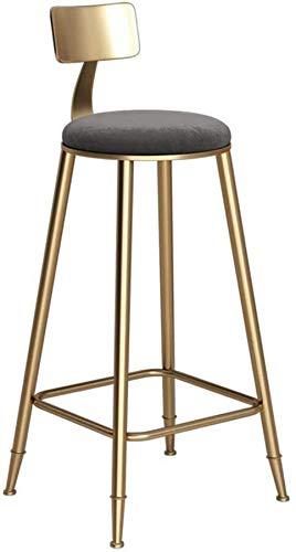 Barkruk bar bar kruk metaal Nordic stijl barkruk creatieve ijzeren kunst keuken dining stoel gouden bar stoel hoge kruk voor thuis en bedrijf grijs kussen (zithoogte: 60 cm) barkruk