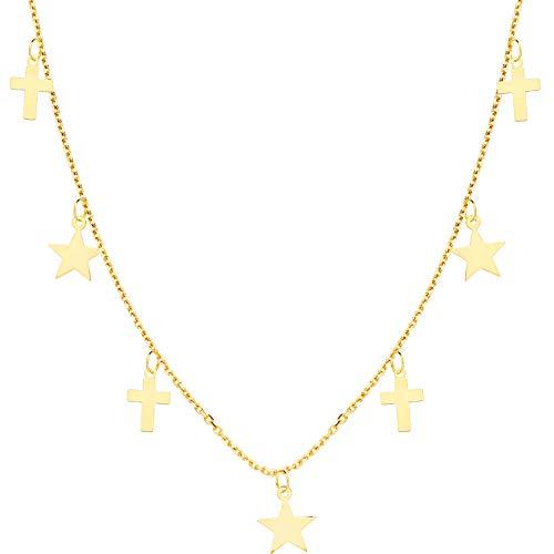 Iyé Biyé Jewels Collar Gargantilla Estrellas y Cruces Mujer Niña Oro Amarillo 18 Ktes Cadena Forzada 45 Cm